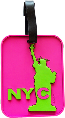 NYC Statue Pink 3-D Luggage Tag (Pack of 6)