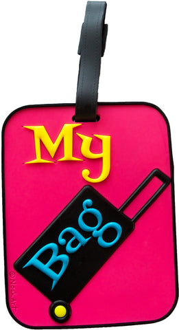 Suitcase Pink 3-D Luggage Tag