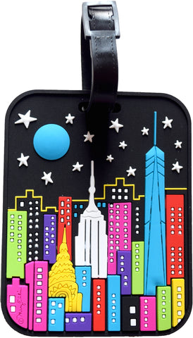 New York Night 3-D Luggage Tag
