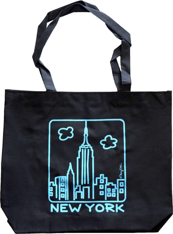 New York Black Tote Bag Empire Blue