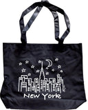 New York Black Tote Bag Skyline