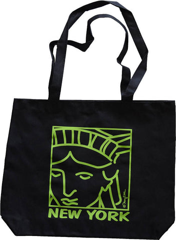 New York Black Tote Bag Statue of Liberty Face