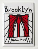 Brooklyn magnet, glossy metal magnet with Brooklyn Bridge artwork by Mary Ellis.