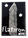 New York Flat Iron Building Black Magnet