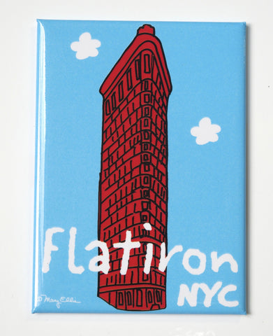 New York Flat Iron Building Blue Magnet