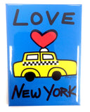 New York Love Taxi Blue Magnet