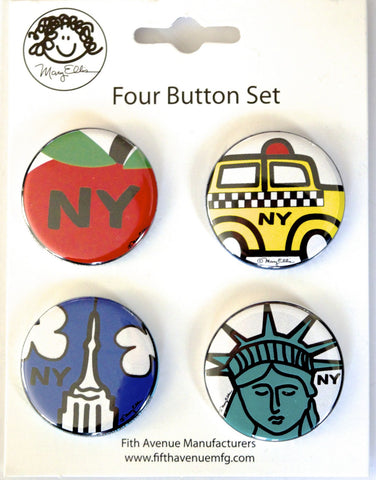 New York Mini Button Set 1 (Pack of 6)