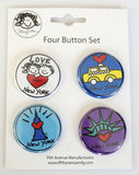 New York Mini Button Set 3 (Pack of 6)