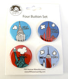 New York Mini Button Set 4 (Pack of 6)