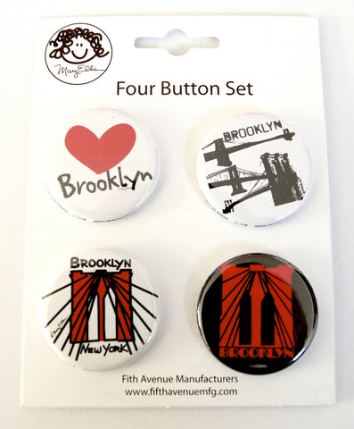 Brooklyn New York Mini Button Set 6 (Pack of 6)