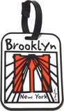 Brooklyn Luggage Tag with raised surface and Brooklyn Bridge art by Mary Ellis.  Heavy Duty construction and hidden address compartment.