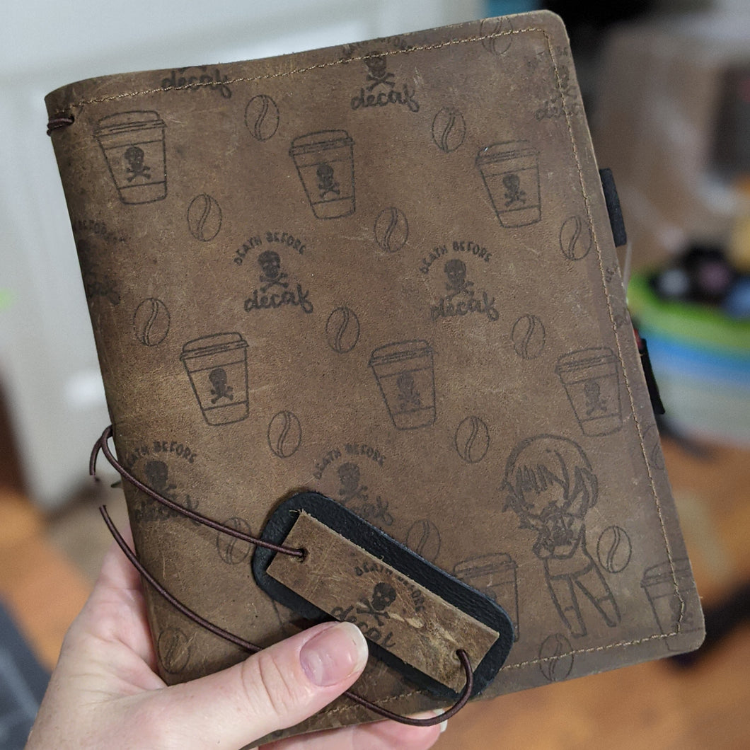 Ready to ship Death Before Decaf Pan / B6 leather traveler's notebook cover