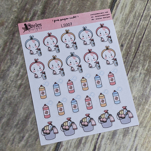 Cleaning Icons Sticker Sheet Ateles Designs & Pink Paper Cult