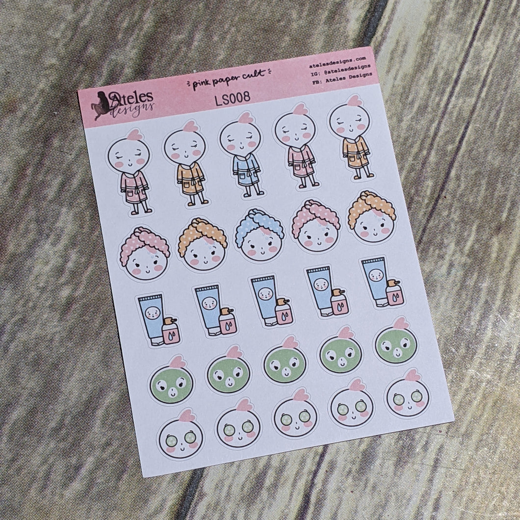 Self Care Routine Icons Sticker Sheet Ateles Designs & Pink Paper Cult
