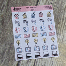 Household (Bills) Icons Sticker Sheet Ateles Designs & Pink Paper Cult
