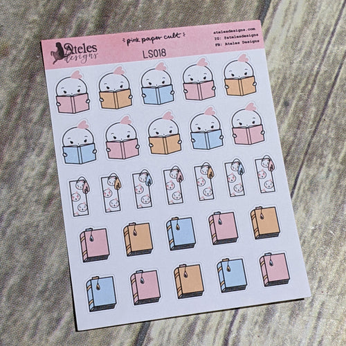 Reading Icons Sticker Sheet Ateles Designs & Pink Paper Cult