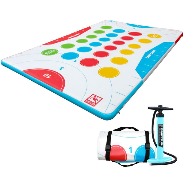 angled view of Floating Game Mat Inflatable Platform Play Pad with pump