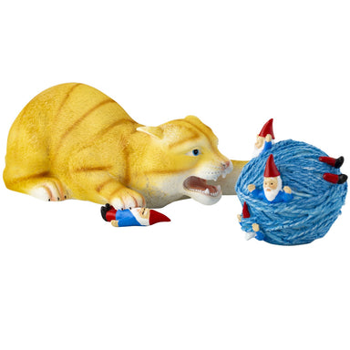 Cat and Gnome Yarn Ball Figure side view