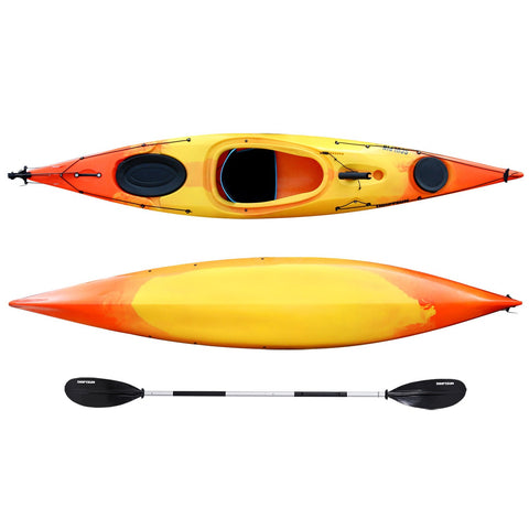 top and botton view of Driftsun Sculpin 12.5 foot long Rotomolded Sit-In Kayak with paddle