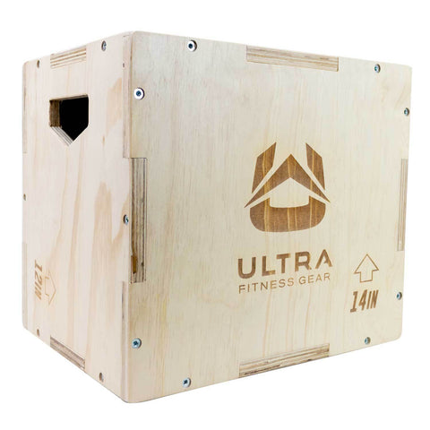 Ultra fitness Gear Wood Small Plyo Box angled front view