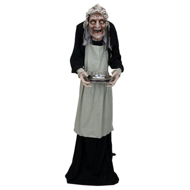 Halloween Animatronics Animated Old Lady with Candy Dish Prop facing front