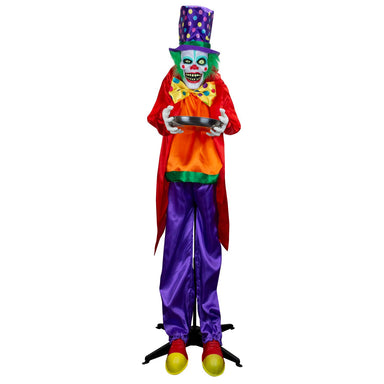 Holidayana Halloween Animatronics Clown with Candy Dish front view