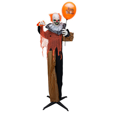 5 ft Halloween Animatronics Clown with Balloon facing front