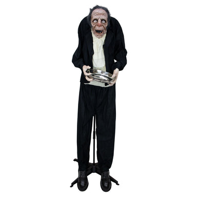 5 ft tall Halloween Animated Old Man with Candy Dish