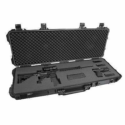 gun case with lid open displaying a rifle