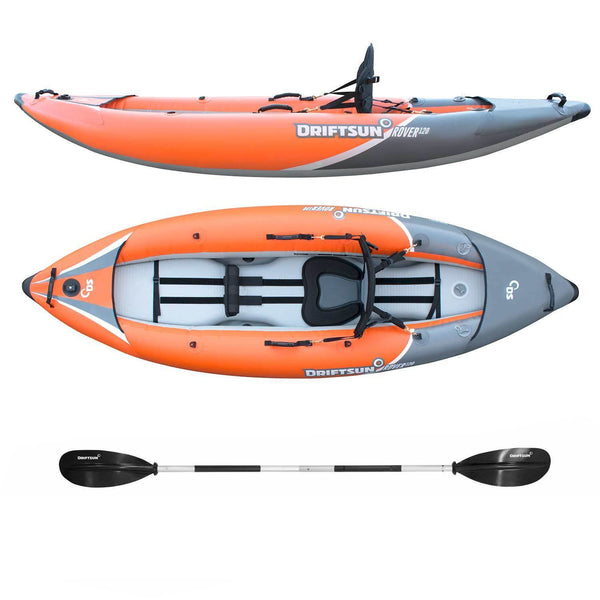 White water kayak side and top profile with paddle