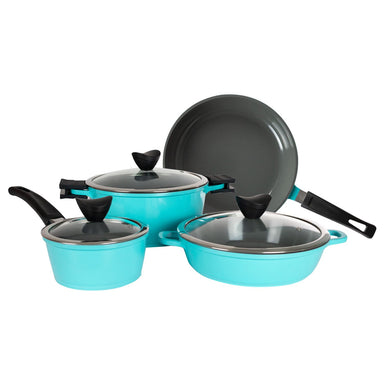 Zelancio 7 Piece Cast Aluminum Ceramic Coated Nonstick Cookware Set