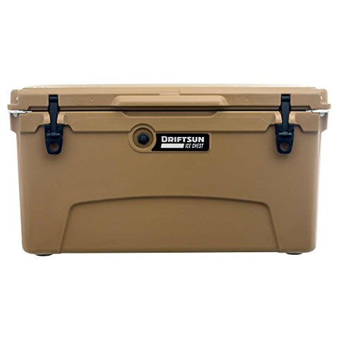 Driftsun 75 Quart Ice Chest, Heavy Duty, High Performance Roto-Molded Commercial Grade Insulated Cooler, Tan