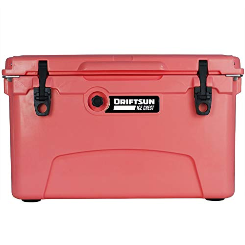 Driftsun 45 Quart Ice Chest - Heavy Duty, High Performance Roto-Molded Commercial Grade Insulated Cooler (Coral)