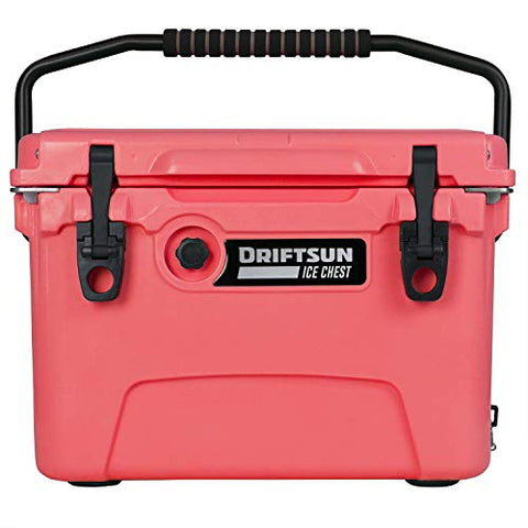 Driftsun 20 Quart Ice Chest - Heavy Duty, High Performance Roto-Molded Commercial Grade Insulated Cooler (Coral)
