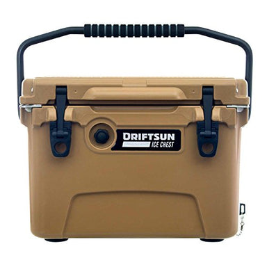 Driftsun 20-Quart Ice Chest, Heavy Duty, High Performance Roto-Molded Commercial Grade Insulated Cooler, Tan