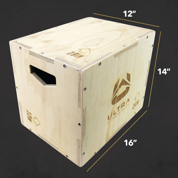 angled front view Ultra fitness Gear Wood Small Plyo Box 16x14x12 inch