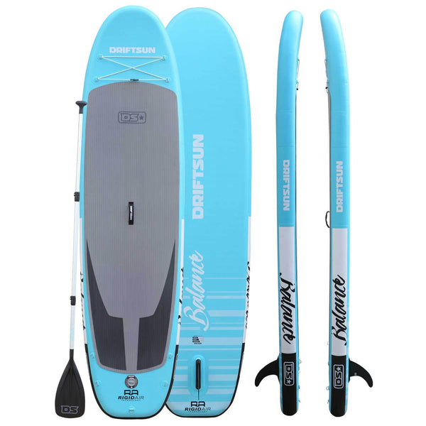 "Driftsun 11"" Balance Inflatable Paddleboard front, back, and side view with paddle"