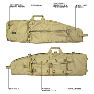 Tactical Rifle Drag Bag With Optional Backpack Straps