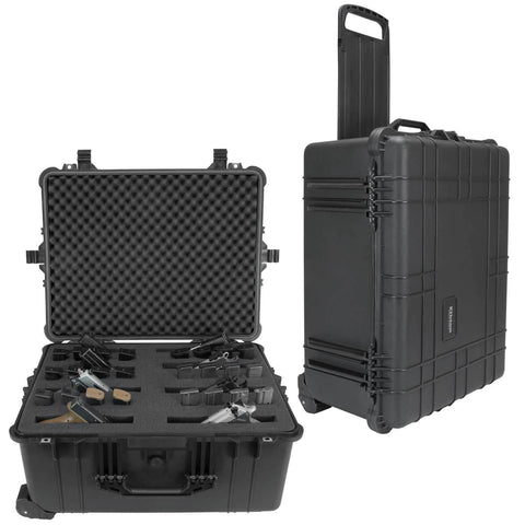 8 Pistol Hard Rolling Gun Case- TSA Approved: Crush Resistant & Waterproof