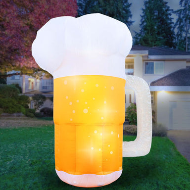 Inflatable Saint Patrick's Day Beer Mug Decoration with Built-In Fan and LED Lights