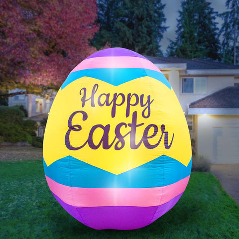 Inflatable Easter Egg Decoration with Built-In Fan and LED Lights
