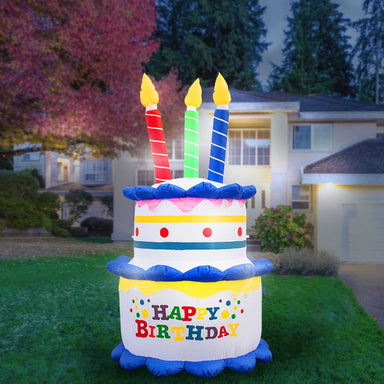 Inflatable Birthday Cake with Candles Party Decoration with Built-In Fan and LED Lights