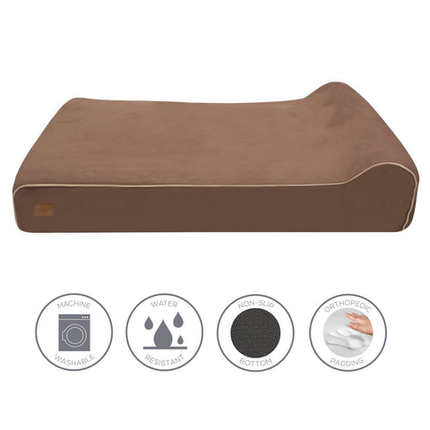 Side view of memory foam dog bed with technical specifications