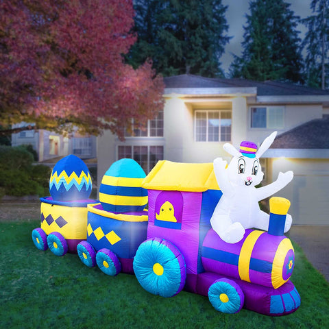 Inflatable Easter Bunny Train Decoration with Engine and 2 Cars with Built-In Fan and LED Lights