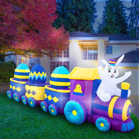 Inflatable Easter Bunny Train Decoration with Engine and 3 Cars with Built-In Fan and LED Lights