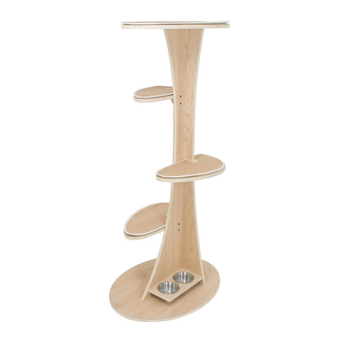 side view FrontPet Futuristic Cat Tree Tower with Natural Wood Finish