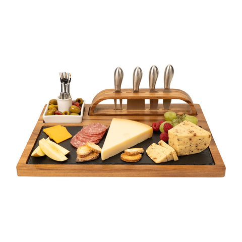 Slate Cheese Board, 12 Piece Charcuterie Set Includes 4 Stainless Steel Cheese Knives, Bigger Acacia Serving Tray with Slate Board, and Wood Tool Holder