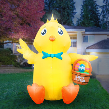 Inflatable Easter Baby Chick with Easter Eggs Basket Decoration with Built-In Fan and LED Lights