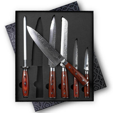 6 Piece Hammered Damascus Steel Knife Set with 16-Layer Steel Blade and Teak Handle