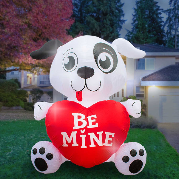 Inflatable Valentines Day Dog with Heart Decoration with Built-In Fan and LED Lights